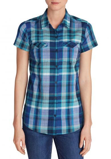 Packbare Bluse Kurzarm - Kariert Damen