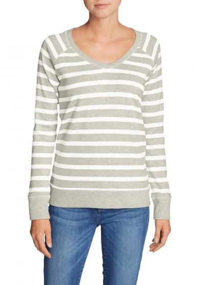 Legend Wash Sweatshirt mit V-Ausschnitt - Gestreift Damen