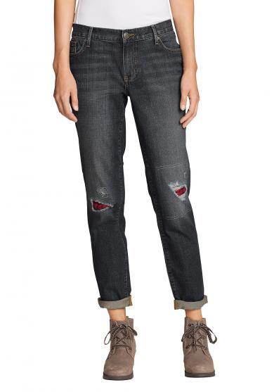 Boyfriend Jeans mit Flanellpatch Damen