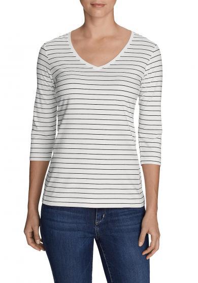 Lookout T-Shirt mit V-Ausschnitt - 3/4-Arm - geringelt Damen