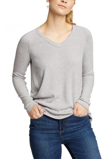 Mix Stitch Langarmshirt - V-Ausschnitt Damen