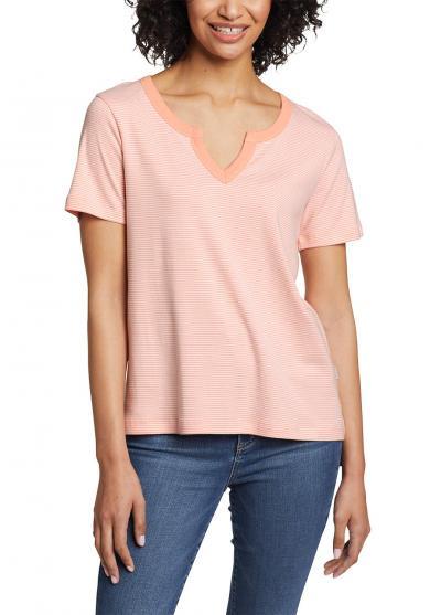 Favorite Shirt - Kurzarm mit Y-Ausschnitt - geringelt Damen